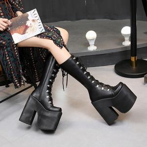 Image 5 - 16cm Topuk Motosiklet Botları Siyah Diz Yüksek Çizmeler Punk Cosplay Çizmeler Moda Goth Takozlar Platformu Yüksek Topuklu çizmeler kadın ayakkabıları