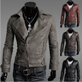 Free shipping new men's leather jacket Korean catwalks shall Slim leather jacket PU high quality 4 color 4 size hot sale M-XXL