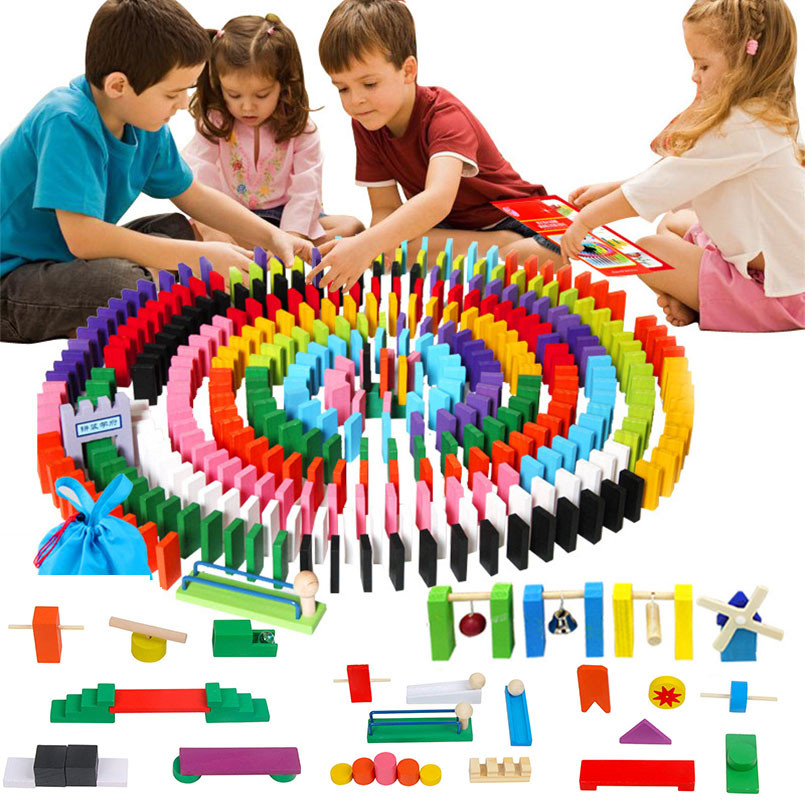 120//240Pcs  Wooden Bright Tumbling Dominoes For Kids Play Games Xmas Toy Gift