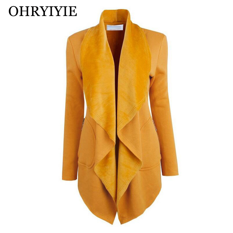 OHRYIYIE Spring Autumn Thick   Jackets   Women 2019 New Fashion Turn-down Collar Outerwear Female   Basic     Jackets   Lady Asymmetric Coat