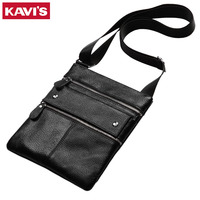KAVIS 100 Genuine Leather Messenger Bag Men Bolsas Male Shoulder Sling Sac Mini Male Crossbody Handbag