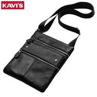 KAVIS 100 Genuine Leather Messenger Bag Men Bolsas Male Shoulder Sling Sac Mini Male Crossbody Handbag