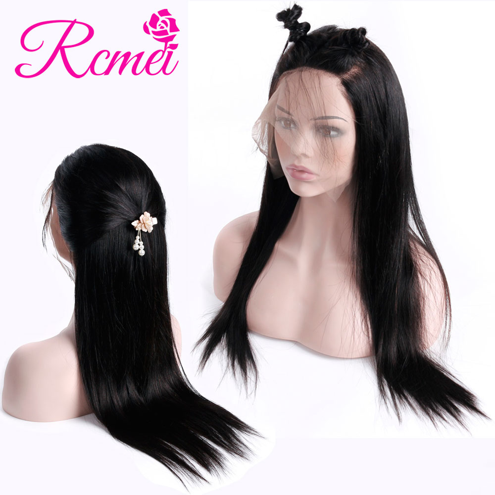 Rcmei Hair Straight 360 Lace Front Wig Brazilian Full Remy Hair 150% Density 360 Lace Frontal Wigs Pre Plucked With Baby Hair