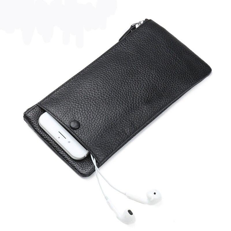 Leather Wallets Black Thin Card Holder Wallet Zipper Genuine Leather Men Clutch Bags Multifunctional Mobile phone Wallet Case golden phoenix retro genuine leather card holder case for iphone 7 plus black