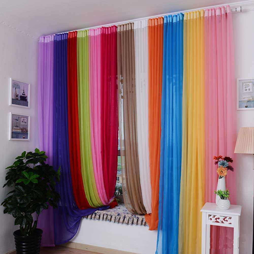 New Gauze Tulle Quality Finished Tulle Rainbow Curtains For The Living ...