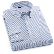 Langmeng striped oxford men dress shirt 100% cotton brand mens long sleeve spring casual shirts camisa masculina white blue grey