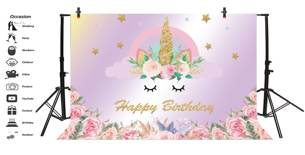 Laeacco Gold Star Unicorn Backdrops Horn Rainbow Watercolor Flower Kid Birthday Party Portrait Photo Background For Photo Studio in Background from Consumer Electronics