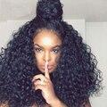 7A Glueless Del Frente Del Cordón Pelucas de Pelo Humano Para Las Mujeres Negras Onda profunda Rizado 250% Densidad Pelucas Del Cordón Del Frente Rizado Encaje Frontal peluca