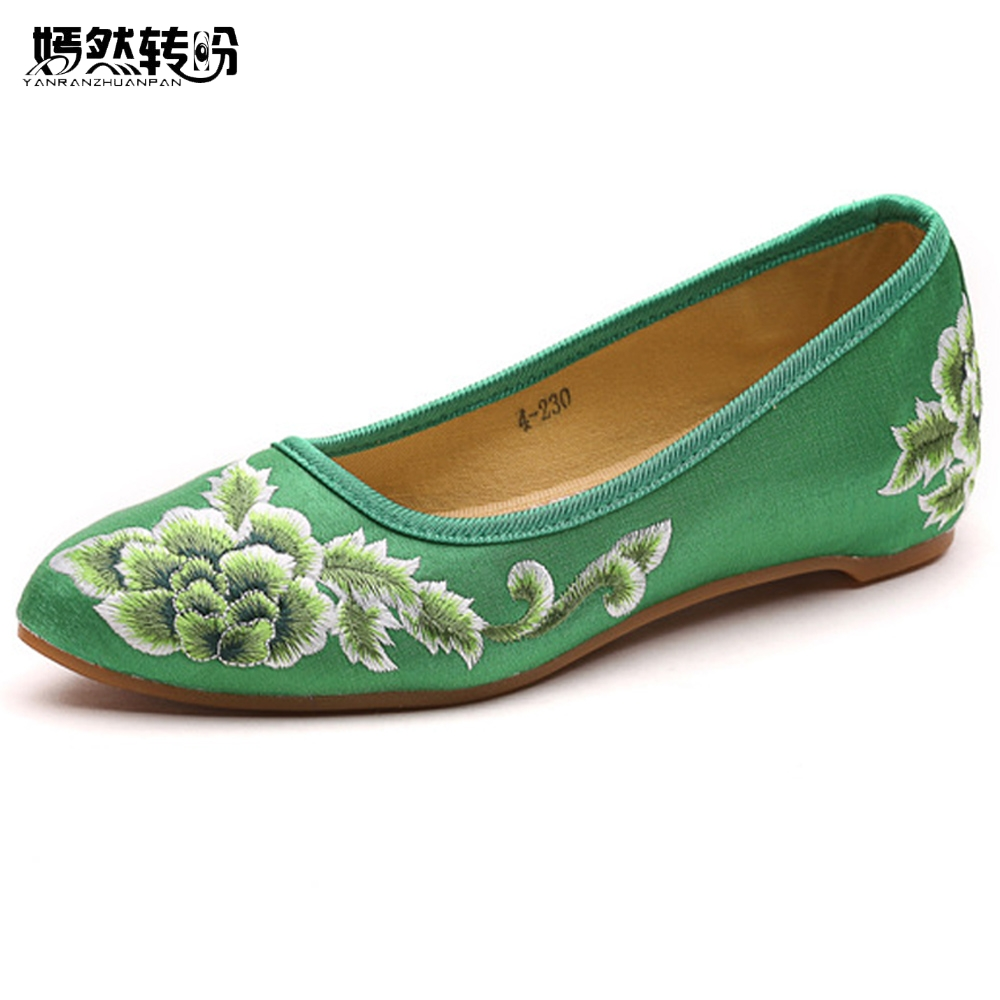 Women Flats Shoes Vintage Pointed Toe Flower Embroidery Lady Comfortable  Slip on Summer Cotton Shoes For Woman Zapatos Mujer-in Women s Flats from  Shoes on ... ebcc4dff9382