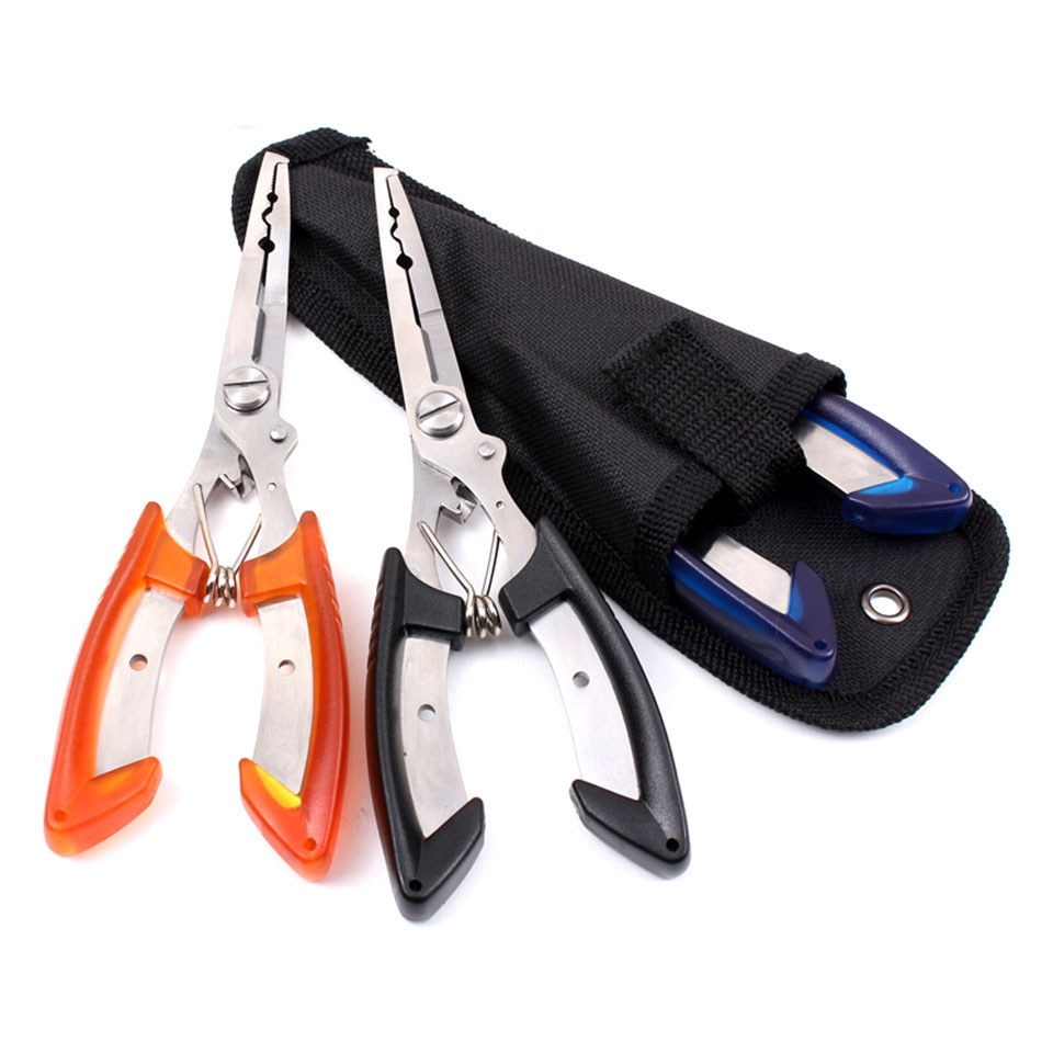 Stainless Steel Fishing Pliers With Package Scissors Line Cutter Remove Hook Fishing Tackle Tool Black/blue/orange