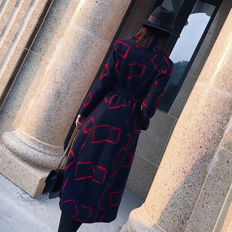 Manteau Femelle De D'hiver Bleu Plaid Ceinture Laine Épaisse Section Femmes Longtemps Veste Pardessus 2018 Style Habillement H81 Rétro Poche Marine Lâche Outwear wPtxSdqC
