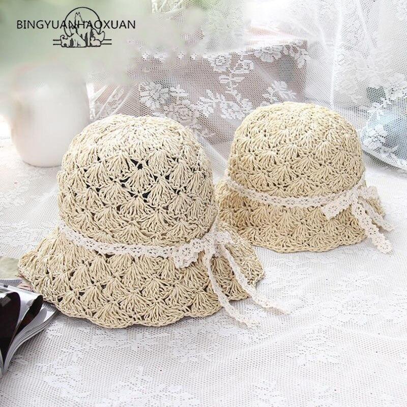 BINGYUANHAOXUAN New Arrival Handmade Girls Beach Hats for Girl Parent-Child Sun Summer Straw Hat and Women