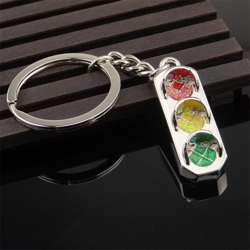 SHUANGR Creative Design Traffic Lights Key Chain Personality Key Holder Bag Pendant Accessories Key Ring