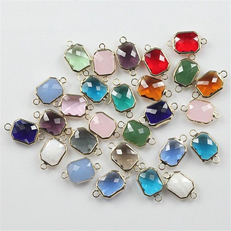 50 pcs 10x12mm facettes charme cristal verre perle connecteur pour la fabrication de bijoux à bricoler soi-même mode scintillant cristal verre connecteur