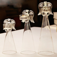 R Free Shipping Romantic Wedding Decoration European Style Creative Blessing Craft Transparent Glass Holder Angel Candlestick