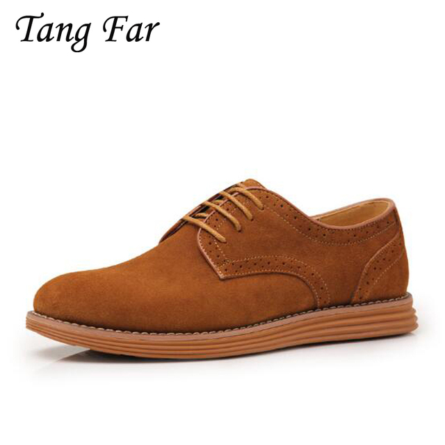 Men Brogue Shoes Plus Size Shoes 47  45 Men's Breathable Casual Shoes Man Leather Flats Fashion Board Shoes