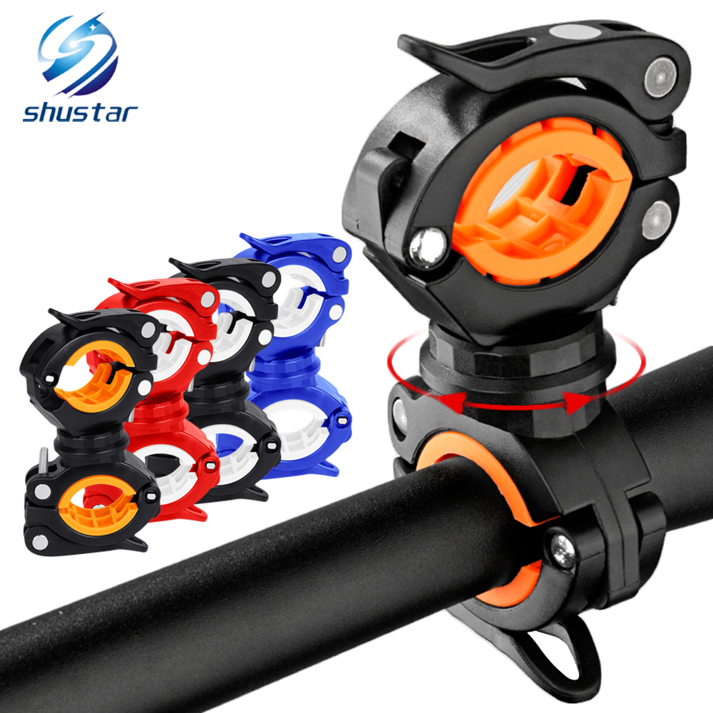 360° Rotating Bike Light Bracket Clamp Torch Clip Flashlight Clip Two-way Clipwith Non-slip Rubber Gasket Bicycle Spare Parts