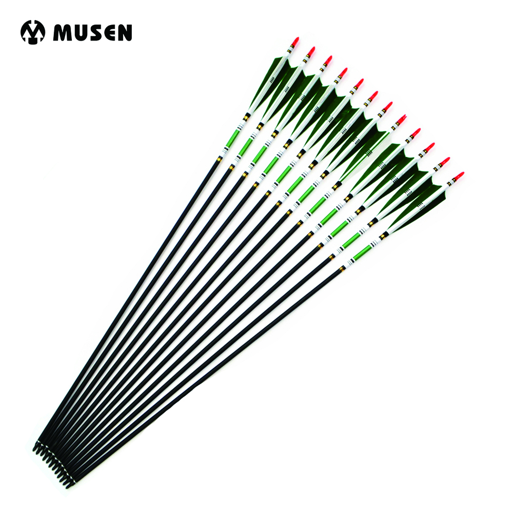 12 pcs 5 Colors Strong Carbon Shaft Spine 500 Length 80cm 33g Arrows with True Turkey Feather for Hunting and Archery Training