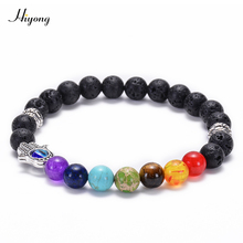 Chakra Bead Bracelets 8mm Lava Rock Stones Beads Evil Eye Hamsa Hand Fatima Palm Natural Stone Yoga Jewelry