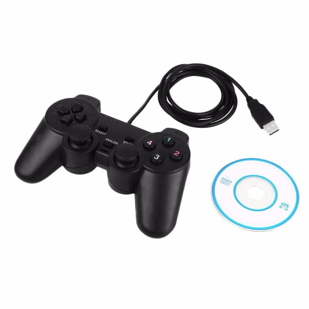 Gasky USB Wired Game Controller Gamepad Gaming Joypad Joystick Control WindowsXP 7 8 PC Computer Laptop Controllers Black wired usb 2 0 black gamepad joystick joypad game controller for pc laptop for raspberry pi 3 for ps3 for sony playstation
