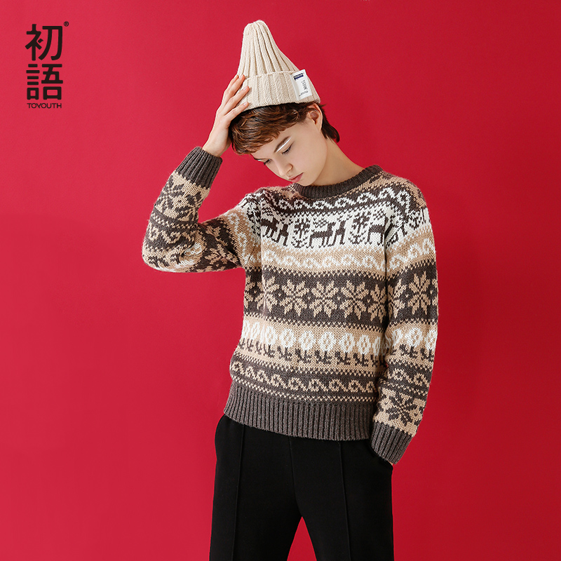 Toyouth Sweaters 2017 Autumn Fashion Warm O Neck Pullovers Floral <font><b>Pattern</b></font> <font><b>Rib</b></font> Cuffs Long Sleeves Sweater