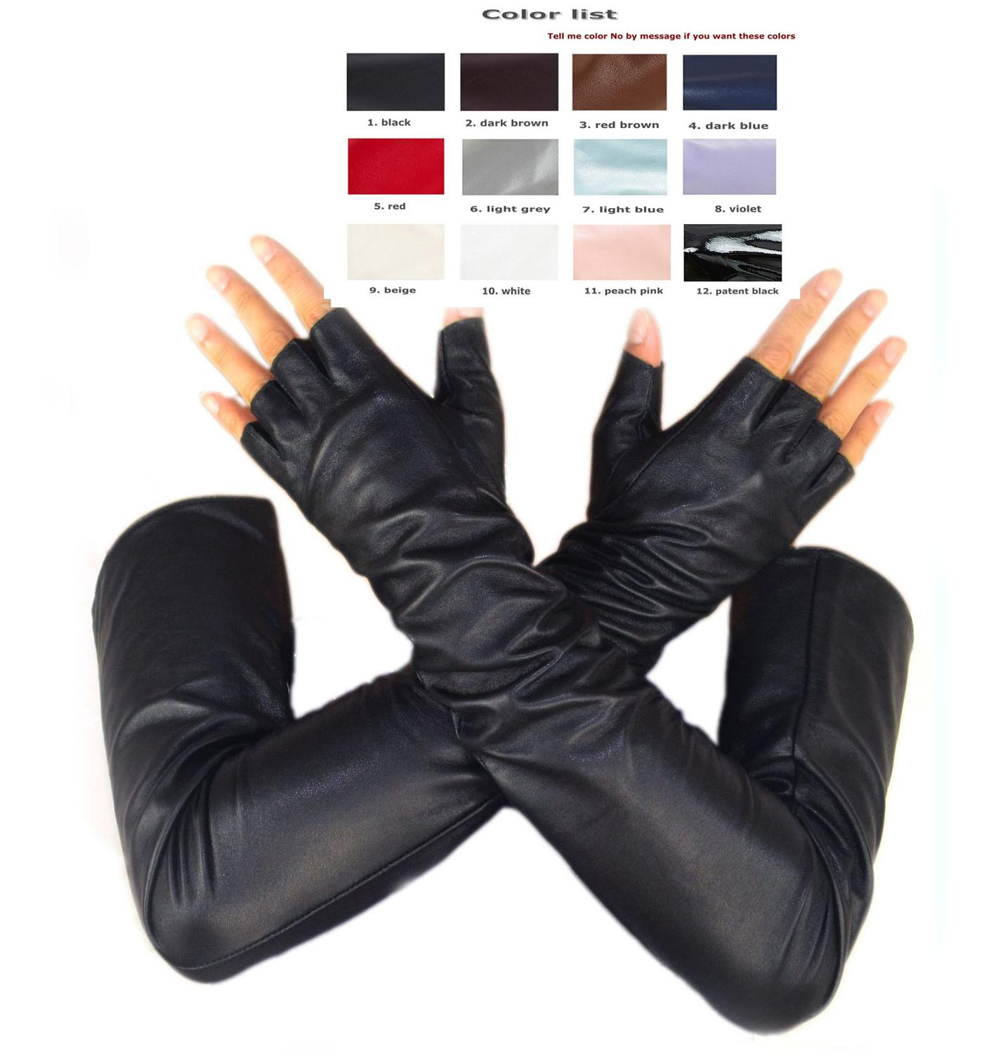 Custom Made 30cm To 80cm Long Top Sheep Leather Fingerless Style No Finger Long Gloves Multi Colors