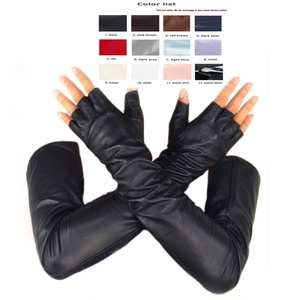 Long-Gloves Fingerless-Style Top-Sheep-Leather No-Finger Custom-Made 30cm 80cm Multi-Colors