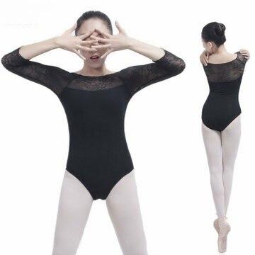 Ballet Leotards For Women Gymnastics Leotard Ballerina Sexy Black/Red Lace Stitching Ballet Jumpsuit Dance Bodysuit For Adult