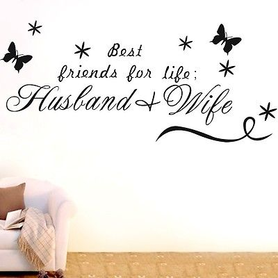Husband And Wife Wall Quotes Decal Removable Stickers Butterfly Decor Vinyl Home Art DIY W716