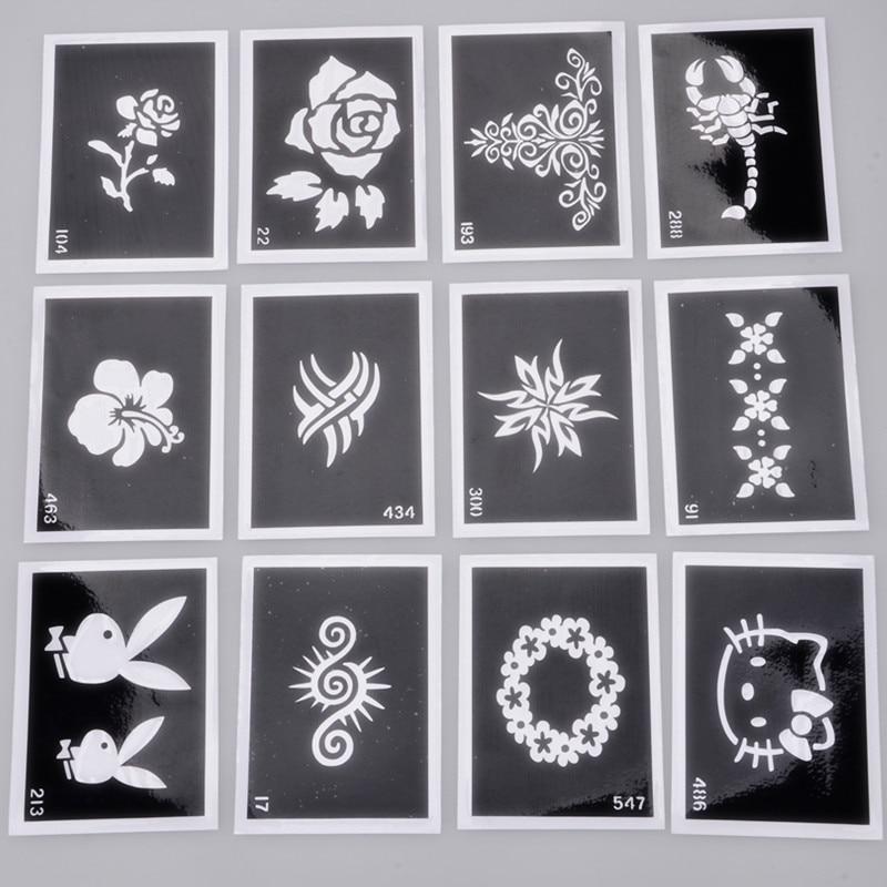 6 Sheets Wrist Body Art Henna Tattoo Stencil Flower: Aliexpress.com : Buy 28 PCS X Airbrush Sheets Stencils For