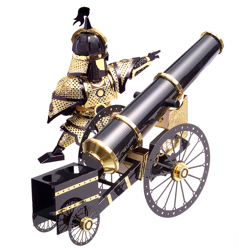 3D Metal Puzzle Artilleryman Style Cannon P080-KG DIY 3D Laser Cut Assemble Models Toys For Audit/Children Funny Gift