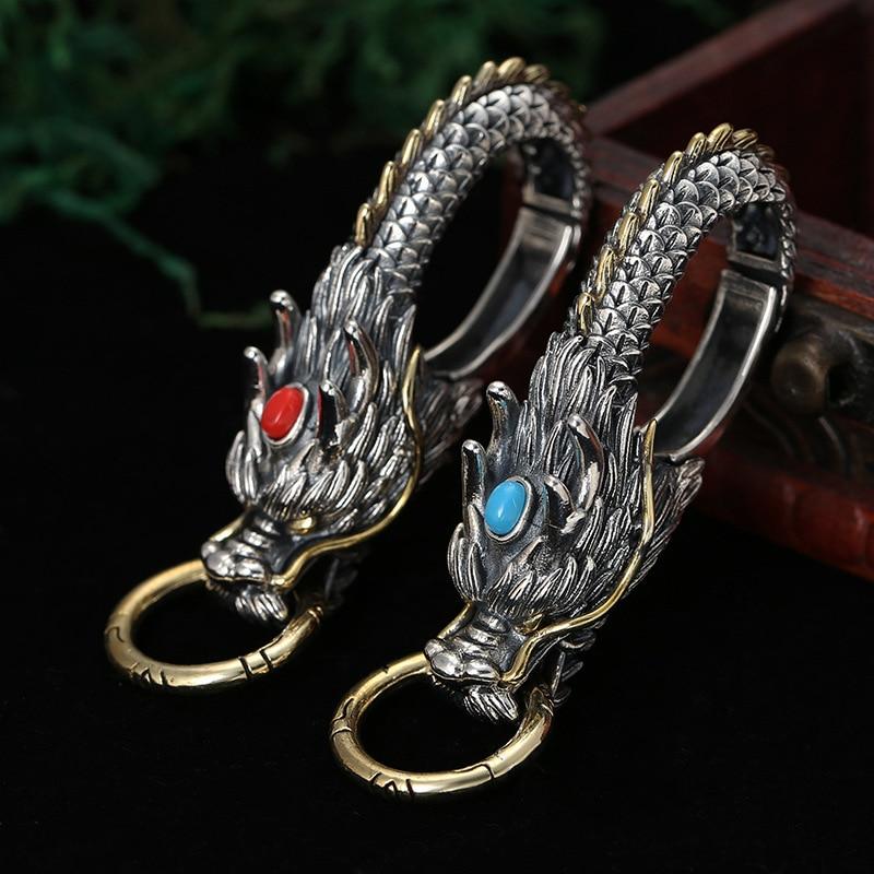Réel S925 bijoux en argent Sterling hommes voiture porte-clés Dragon mosaïque pierre collier pendentif 2019 nouveau multifonction pendentif bijoux
