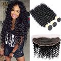 Eurasian Virgin Hair with Closure Cheap Deep Wave with Lace Frontal Closure 8A Grade Unprocessed Virgin Human Deep Curly Hair
