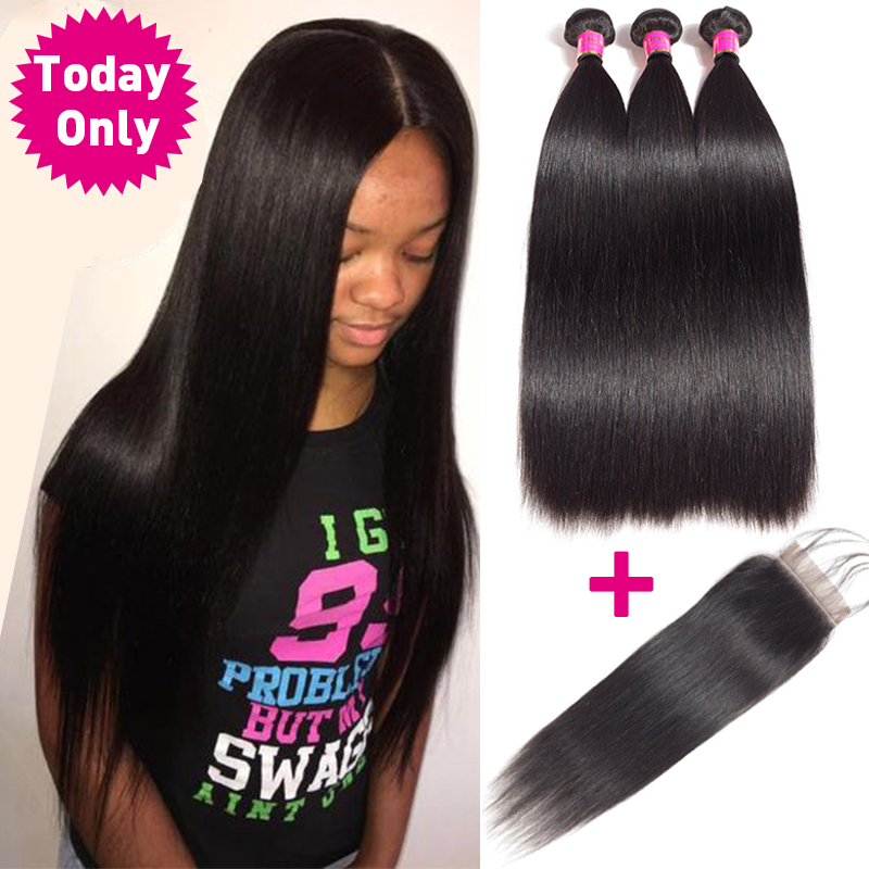 Sale Today Only Brazilian Straight Hair 3 Bundles With Closure