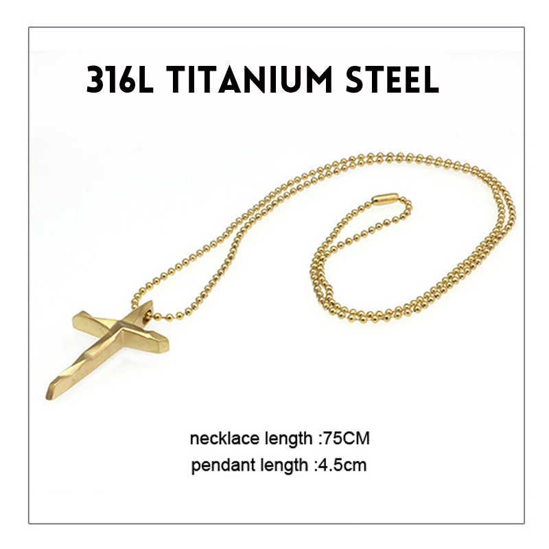Mcllroy Trendy Titanium Stainless Steel Simple Cross Sweater Long Pendant Necklace For men women Couple gift Chain erkek kolye