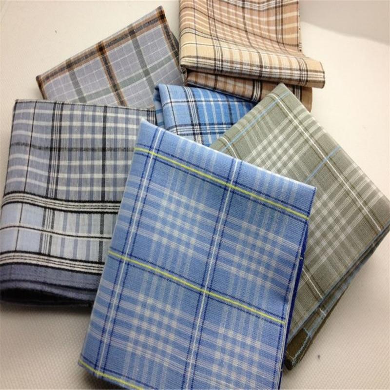 Fashion Style Handkerchiefs Men 100% Cotton Plaid  Handkerchief  Towboats  10Pcs/Lot