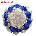 100% Высокое Качество Ручной Работы Свадебные Свадебные Букеты Королевский Синий Крем Алмаз Холдинг Цветок Невесты Букеты W236 Пользовательские