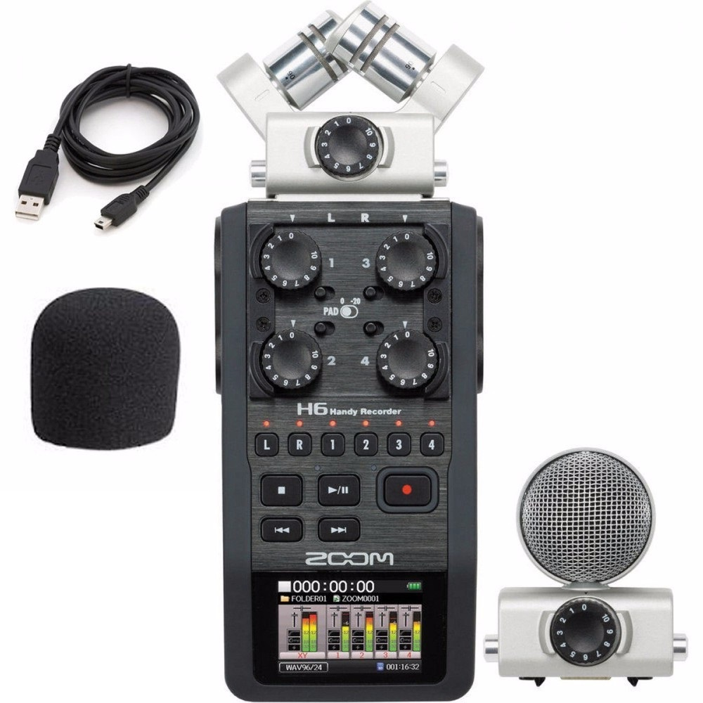 Zoom H6 portable professional handheld digital recorder 6 Track for interview X Y Side Mic Audio