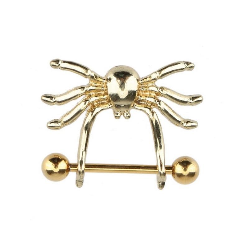 2Pcs Fantastic Cute Spider Nipple Rings Body Jewelry, Glod Plated Barbell Industrial Piercing Nombril Pirsing Ombligo