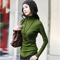 Blusas Femininas Fashion Women's Clothing Blouses Shirts Solid High Collar Turtleneck Long Sleeve Cotton Tops Tee Clothes S2793
