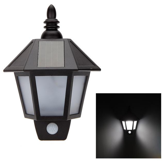 1pc Solar Power LED PIR Motion Sensor Light Outdoor Garden Wall Lamp For Waterproof Garden Lawn lamps Landscape Yard Lights