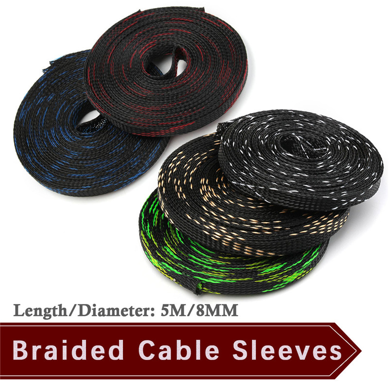 8mm Braided Sleeves Tight PET Expandable Nylon Cable Sleeve 5M Insulation High Density Sheathing Wire Gland Cables Protection