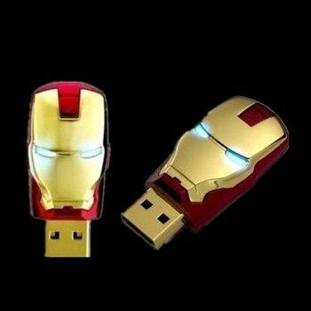 Metal Iron Man Led Light Flash Card Disk Pen Drive 32GB USB Flash Drive 64GB 512GB Memory Stick Pendrives Pendrive 128GB Gift