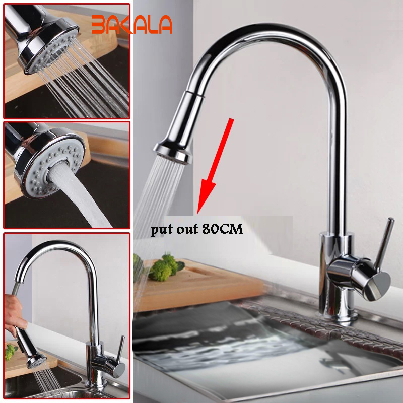 Freeshipping BAKALA Fashion cozinha single lever Pull out spray spout swivel brass kitchen faucet mixer taps LH-8115 antique brass swivel spout dual cross handles kitchen