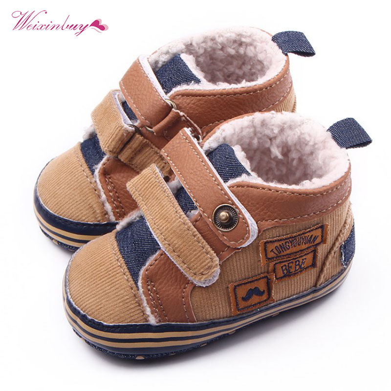 Fashion Warm Autumn Winter Canvas Stitching PU Baby Shoes Baby First Walker Toddler Shoes For Baby Boys