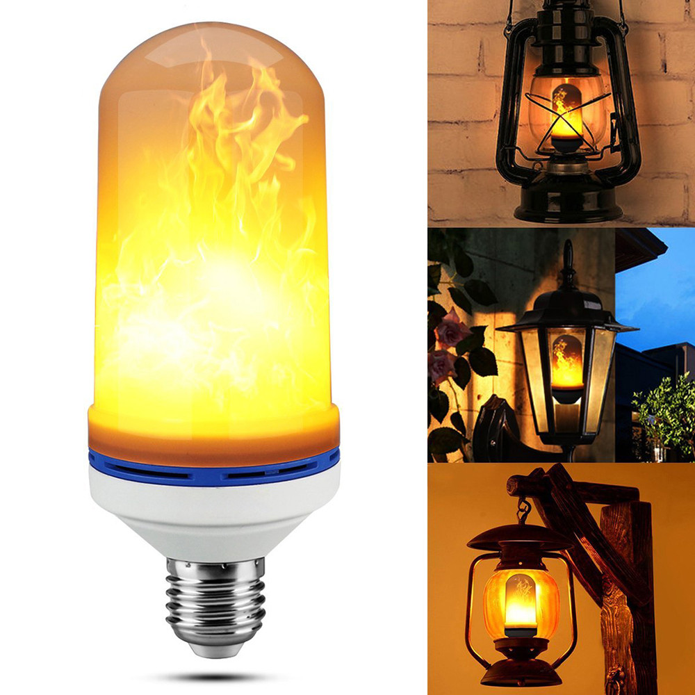 E27 E26 2835 LED Flame Effect Fire Light Bulbs 7W Creative Lights Flickering Emulation Vintage Atmosphere Decorative Lamp DQ