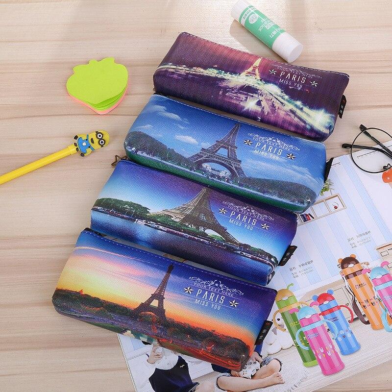 50pcs Paris Tower Pencil Case Kawaii School Supplies Stationery Waterproof PU Leather Pen Bag For Girls Boys Pencil Box Gift