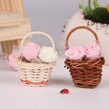 Мини пластиковая плетеная корзина, декор для рукоделия, имитирующий фруктовый ротанговый ящик для хранения чая, корзина для пикника, органайзер ручной работы
