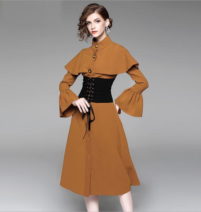 Manteau Slim Style Femmes Pour 2019 coat Britannique Long Trench D'extérieur Kaki Noir Vêtements Tempérament Automne nzrfwz0qxB