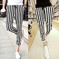 Мужчины Черно-Белые мужские случайные штаны Леггинсы Зебра Печати Вертикальная Полоса Брюки SLIM FIT БРЮКИ